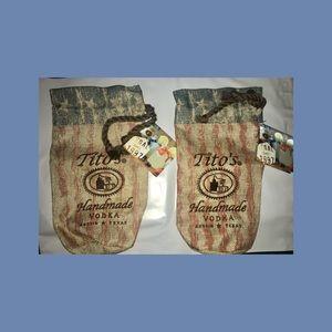 2 Titos Vodka Drawstring Tote Bags 750ml NEW!